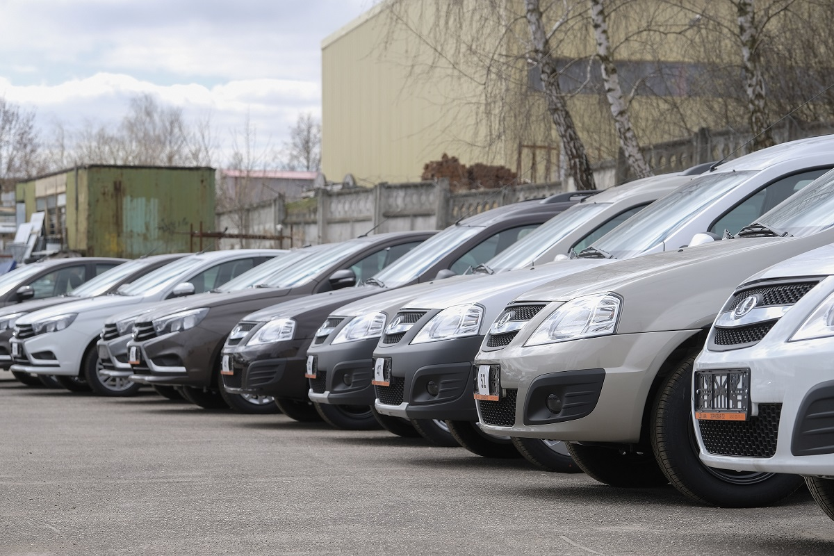 "Kaluga, Russia – April, 20, 2017: New cars on a parking in car dealership of ""Lada"" in Kaluga, Russia"