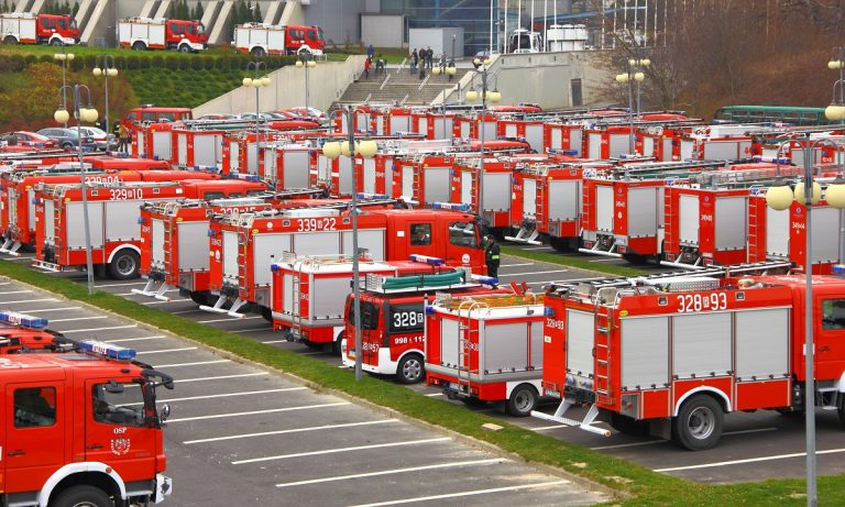 Firetrucks in headquarter ready for action